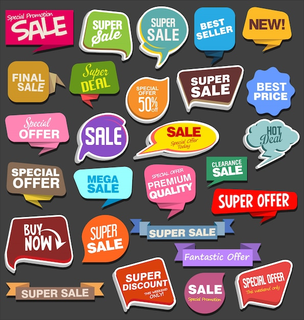 Autoadesivi e contrassegni di vendita o etichette sul fumetto Vettore Premium