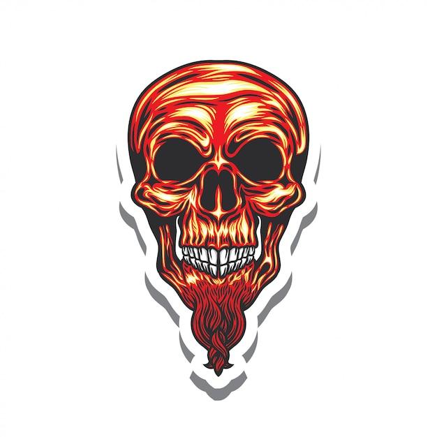Autoadesivo dell'illustrazione di logo della testa del cranio Vettore Premium