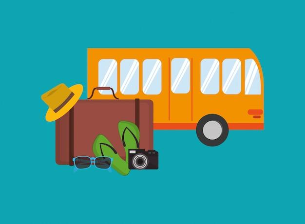 Autobus urbano con icona di articoli correlati in viaggio Vettore Premium