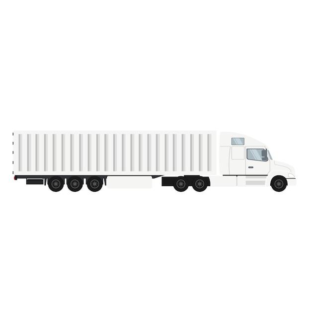 Autocarro portacontainer per esportazione con celle frigorifere. Vettore Premium