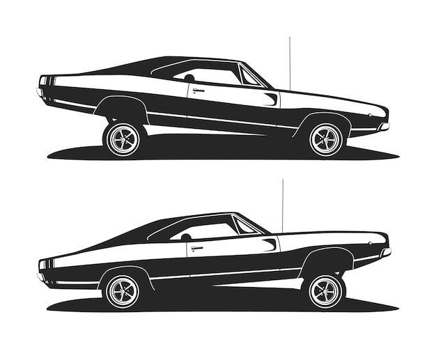 Automobile americana del muscolo basso. profilo di auto lowrider classiche. Vettore Premium