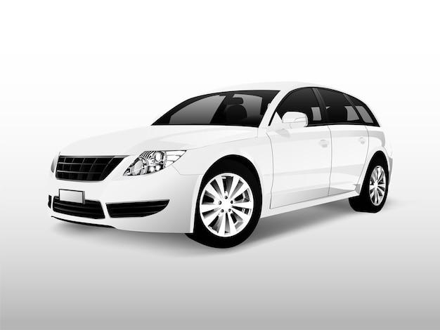Automobile bianca della berlina isolata sul vettore bianco Vettore gratuito