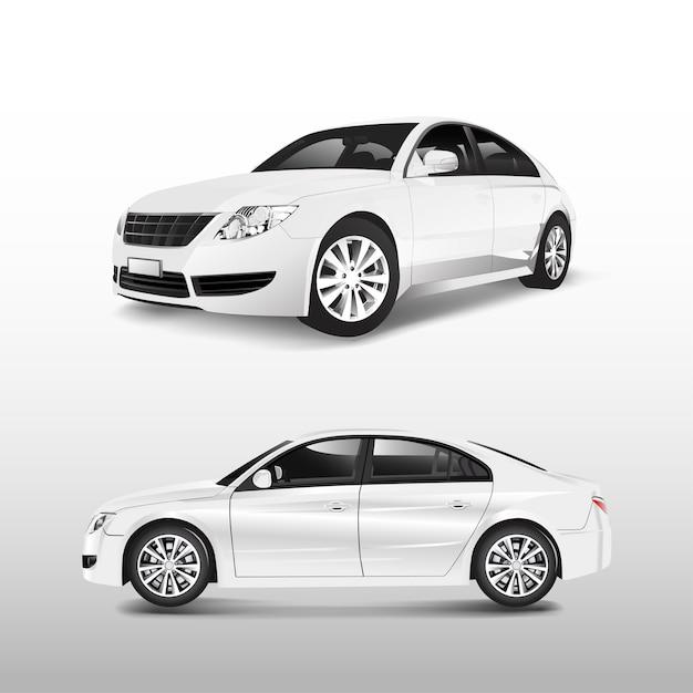 Automobile di berlina bianca isolata sul vettore bianco Vettore gratuito
