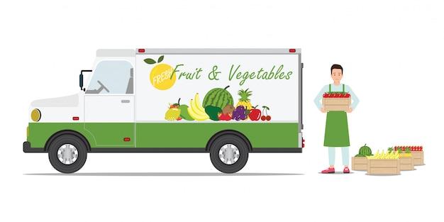 Automobile di consegna di frutta e verdura di agricoltori. Vettore Premium