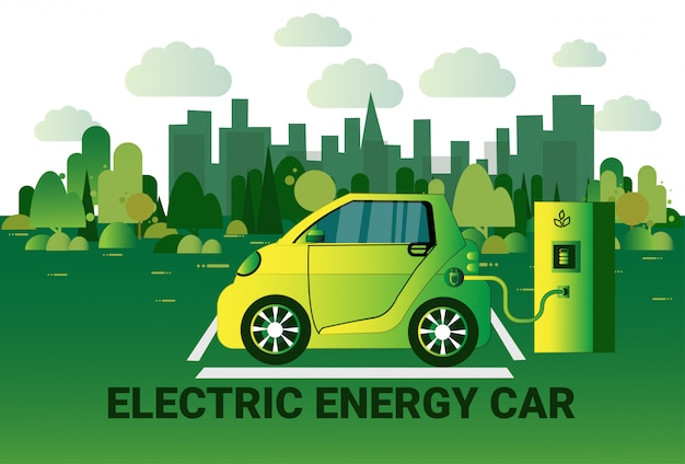 Automobile di energia elettrica che fa pagare alla stazione sopra il concetto ibrido del vechicle del fondo verde della città Vettore Premium