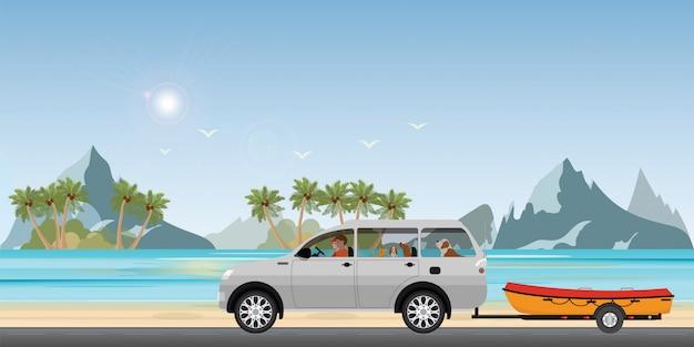 Automobile di rimorchio della barca sulla strada che corre lungo la costa del mare. Vettore Premium