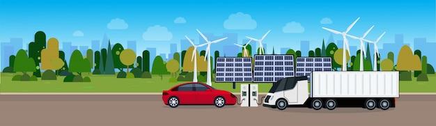 Automobile elettrica e camion che si caricano alla stazione da wind trombines e dalle pile del pannello solare concetto di eco friendle vechicle Vettore Premium