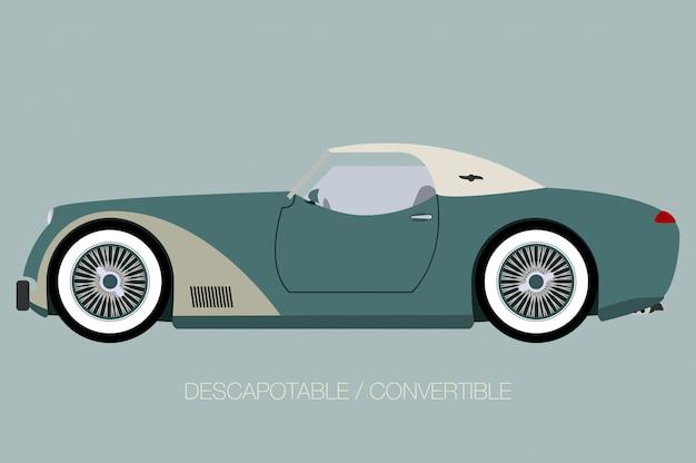 Automobile europea classica, vista laterale dell'automobile, automobile, veicolo a motore Vettore Premium
