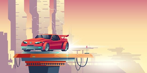 Automobile rossa del robot con la siluetta del trasformatore Vettore gratuito