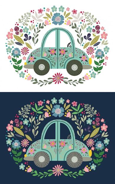 Automobile sveglia del fumetto di piega con molti elementi e modelli floreali. disegno a mano piatta illustrazione vettoriale Vettore Premium