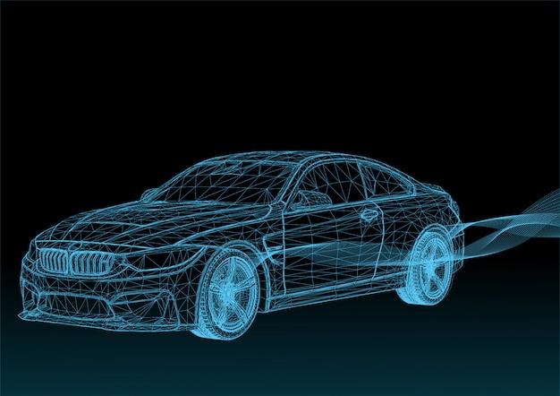 Automobili 3d di vettore con strisce blu Vettore Premium
