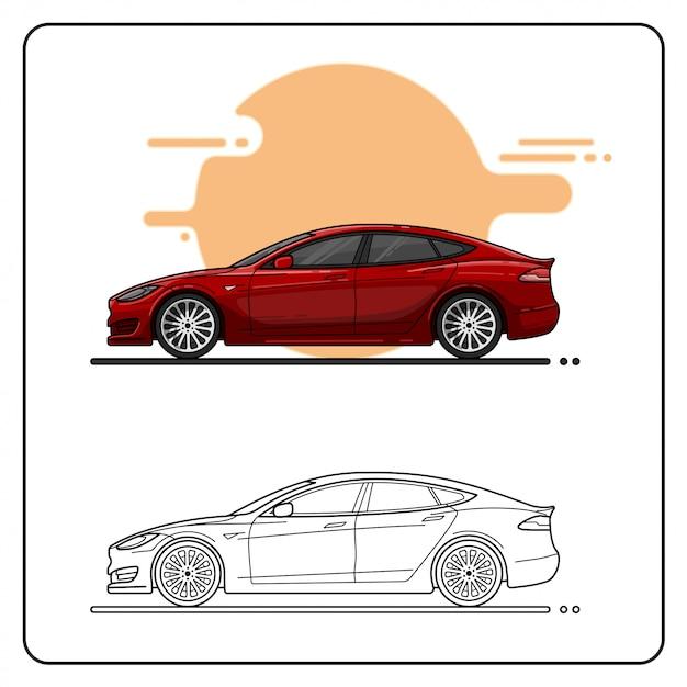 Automobili rosse moderne facili Vettore Premium