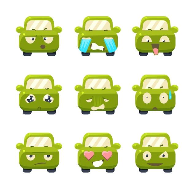 Automobili sveglie con l'insieme dell'illustrazione delle emoticon Vettore Premium