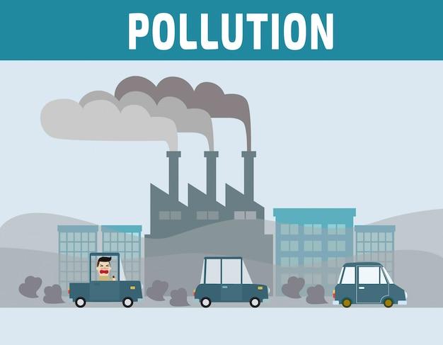 Automobilista in città con inquinamento atmosferico. Vettore Premium