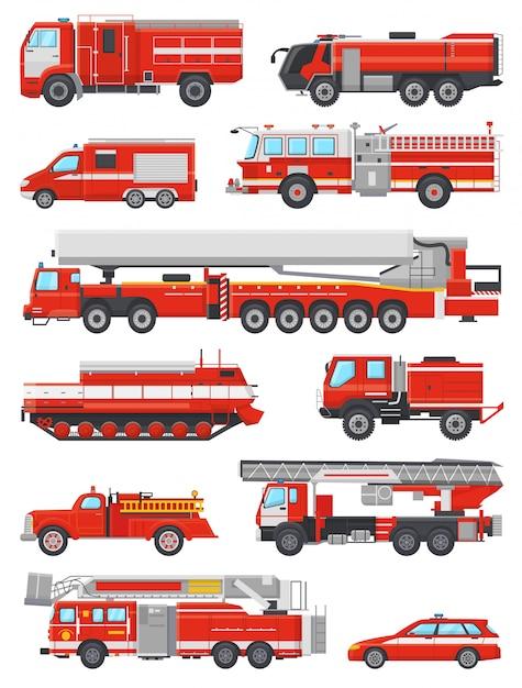 Autopompa antincendio veicolo di emergenza antincendio o rosso firetruck con firehose e scaletta illustrazione set di vigili del fuoco auto o mezzi di trasporto autopompa isolato Vettore Premium