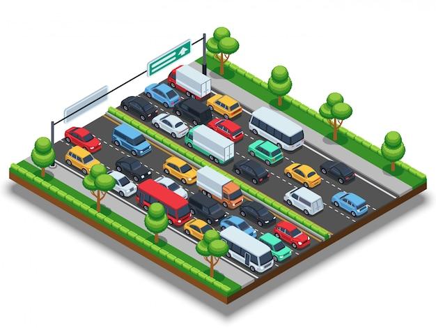 Autostrada isometrica con ingorgo stradale. concetto di vettore di trasporto 3d con auto e camion Vettore Premium