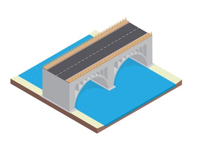 Autostrada isometrica sul ponte Vettore Premium