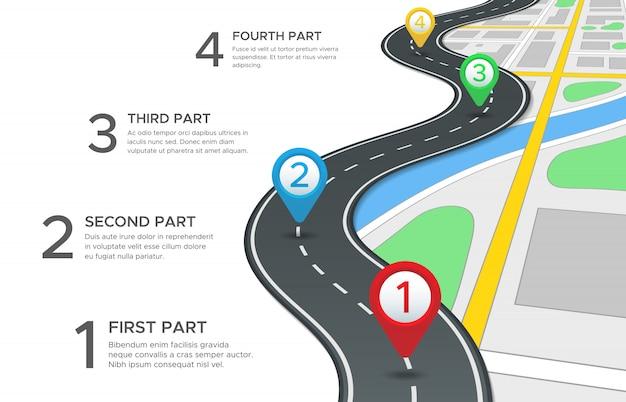 Autostrada strada infografica con quattro passaggi Vettore Premium