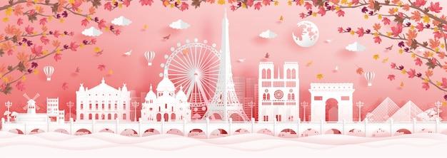 Autunno a parigi, francia con foglie d'acero che cadono e monumenti famosi del mondo Vettore Premium