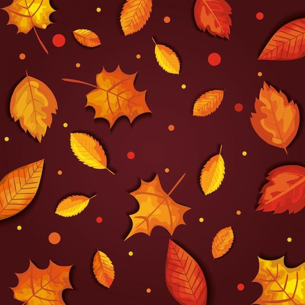 Autunno con foglie seamless Vettore gratuito