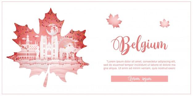 Autunno in belgio con il concetto di stagione per la cartolina di viaggio, poster, pubblicità tour di monumenti famosi in tutto il mondo Vettore Premium