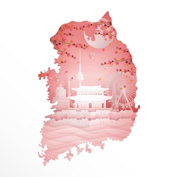 Autunno in corea del sud con la mappa e il concetto di stagione Vettore Premium