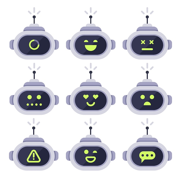 Avatar di chatbot. robot androide computer con set di icone di espressioni facciali Vettore Premium