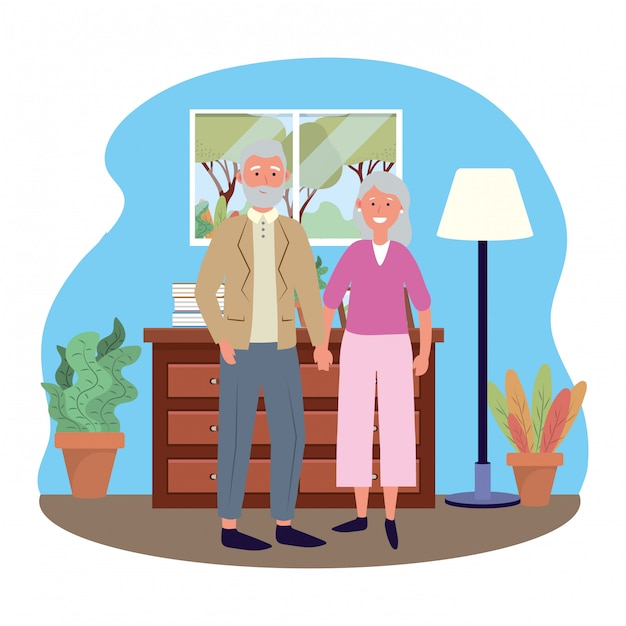 Avatar di coppia di anziani Vettore Premium