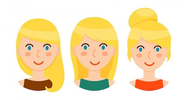 Avatar di donne bionde con diverse acconciature impostate Vettore Premium