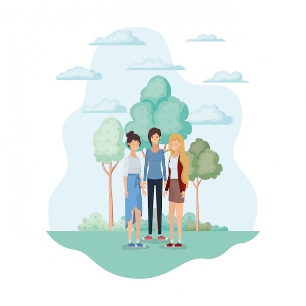 Avatar di donne nel parco Vettore gratuito