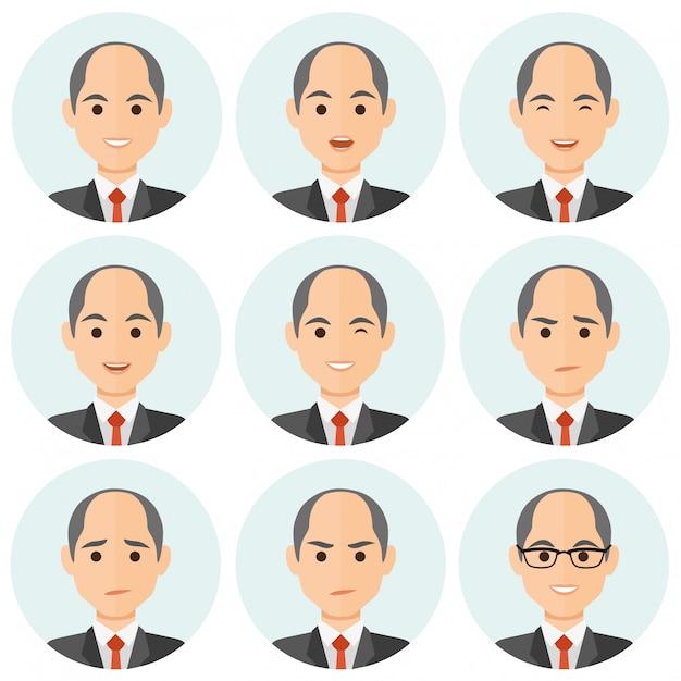 Avatar di espressioni di uomo d'affari Vettore Premium