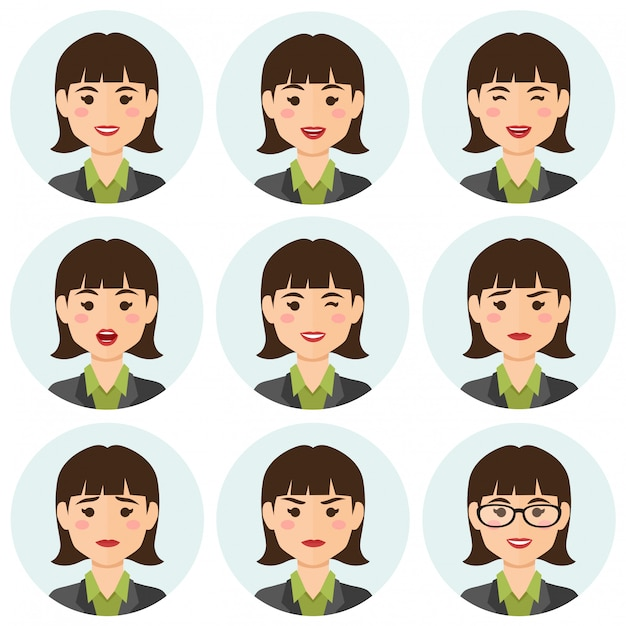 Avatar di expresions donna d'affari Vettore Premium