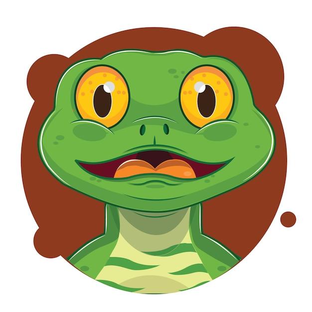 Avatar di lucertola verde carino Vettore Premium