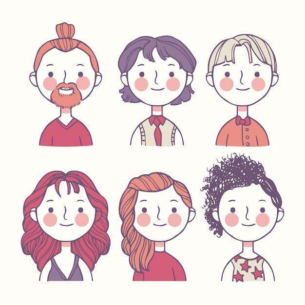 Avatar di persone colorate Vettore gratuito