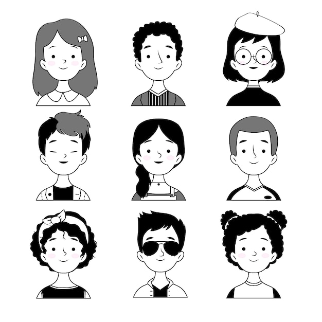 Avatar di persone in stile bianco e nero Vettore gratuito