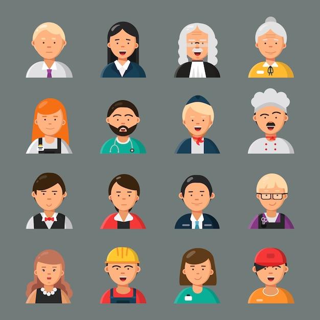 Avatar di professioni. stile piano dei ritratti dei colleghi del gruppo di lavoratori di occupazione del cuoco del parrucchiere dell'insegnante di medico dell'uomo d'affari Vettore Premium