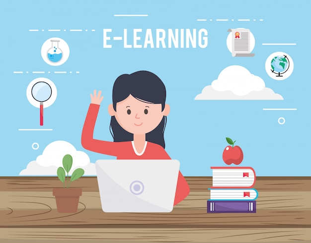 Avatar donna e apprendimento online Vettore Premium