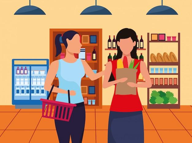 Avatar donne al corridoio del supermercato con stand con generi alimentari Vettore Premium
