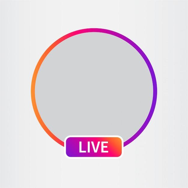 Avatar icona social media. streaming video in diretta. Vettore Premium