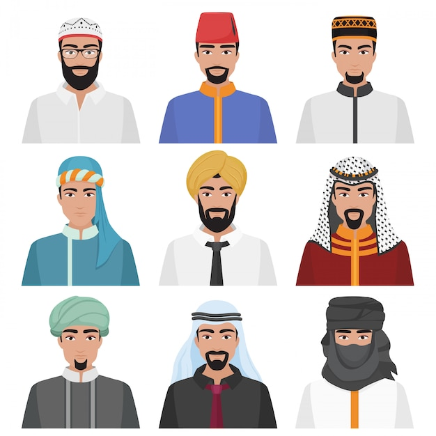 Avatar maschi arabi mediorientali Vettore Premium