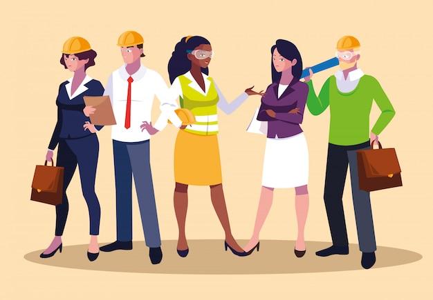 Avatar set di lavoratori professionisti Vettore Premium