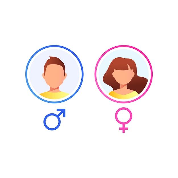Avatar utente. volto maschile e femminile isolato su sfondo bianco. icona vettoriale Vettore Premium