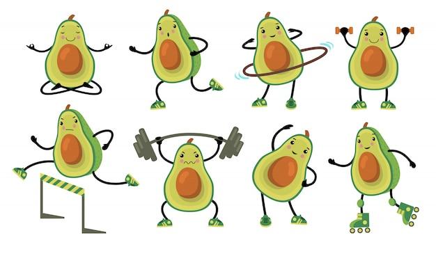 Avocado divertenti facendo esercizio fisico Vettore gratuito