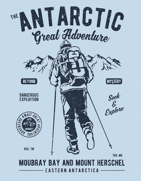 Avventura antartica Vettore Premium
