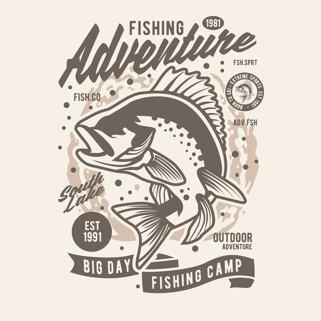 Avventura di pesca Vettore Premium