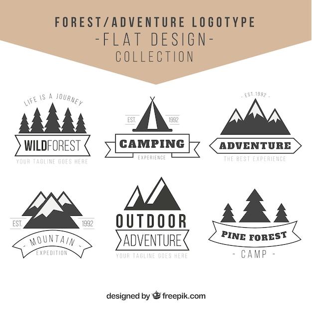 Avventure loghi nella foresta in design vintage Vettore gratuito