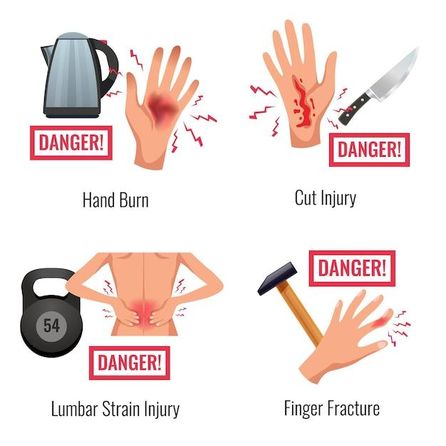 Avvertimento di infortunio alle parti del corpo umano 4 composizioni piatte impostano la deformazione del legname di frattura delle dita bruciate a mano Vettore gratuito