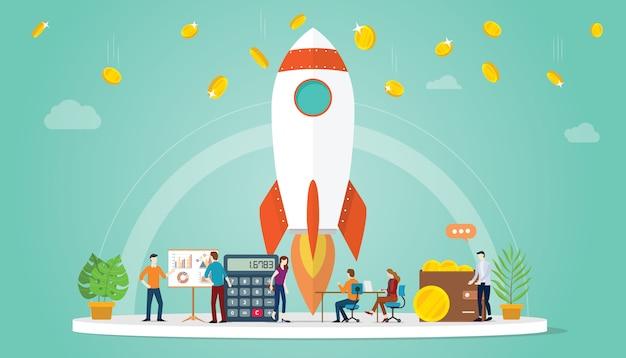 Avvia il concetto di business startup con razzi e denaro finanziario Vettore Premium