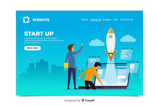 Avvio digitale design della pagina di destinazione Vettore gratuito