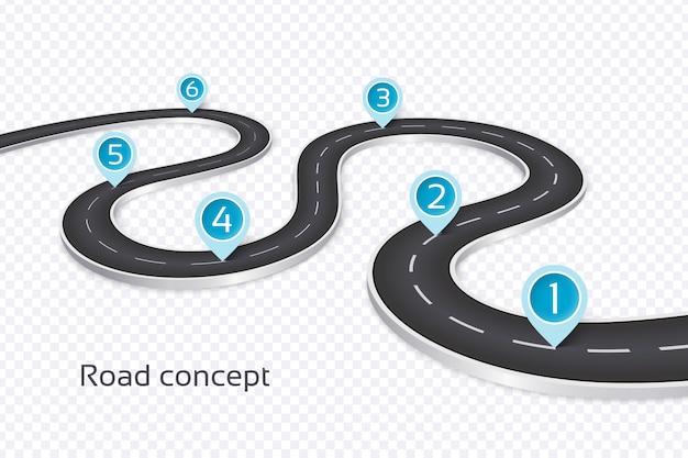 Avvolgimento 3d concetto infografica strada Vettore Premium